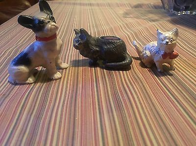 Vintage Cast Iron Bronze Cat Dog Figurines Lot Of 3