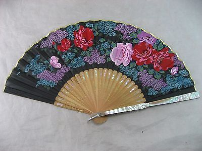 Hand Fan Mother Of Pearl & Bamboo Vintage Rare, Made In Japan