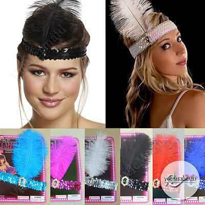 1920s Flapper Headband Headpiece Charleston Gatsby Dance Party Sequin Feather