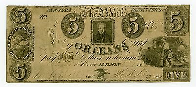 1800's $5 The Bank of Orleans - Albion, NEW YORK (CTFT.) Note