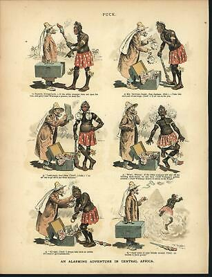 Traveling Merchant Scaring Tribal Man Racism 1881 antique color lithograph print