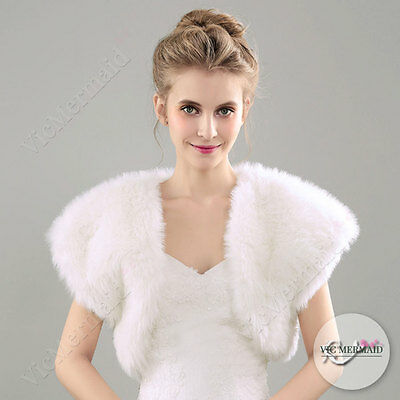 Extra Thick Shawl Wedding Faux Fur Wrap Shrug Bolero Bridal Scarf Ivory Warm M L