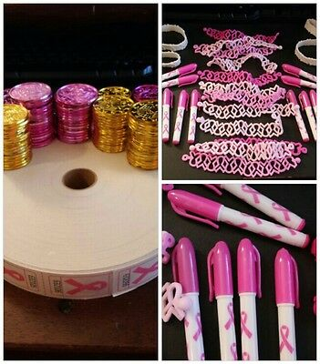 LOT of Breast Cancer Fundraiser pink ribbon Pens,  Bracelets, Tokens & Tickets