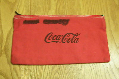 "COCA-COLA COKE RED CANVAS ZIPPER MONEY BAG 10 1/2"" x 5 1/2"" - GOOD CONDITION"