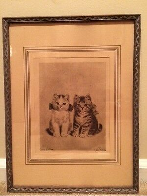 Stunning Vintage Cat Picture titled Twin Kittens Gorgeous Period Frame & Matt
