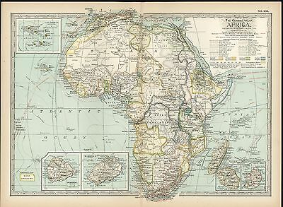 Africa 1898 antique color lithograph map
