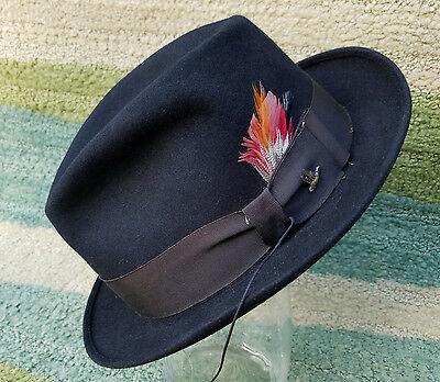 Vintage Black Kasmir Finish Champ Fedora Men s Hat Brown Band Feather Duck  Pin f54bd6a90ab5