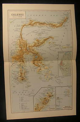 Celebes Indonesia South East Asia c.1936 vintage color lithograph map