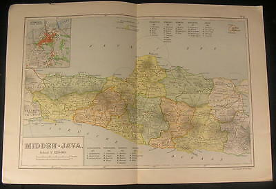 Central Java Indonesia South East Asia 1918 vintage color lithograph map