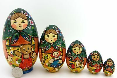 Genuine Russian nesting dolls 5 HAND PAINTED EGG Martryoshka Teddy TOYS RYABOVA