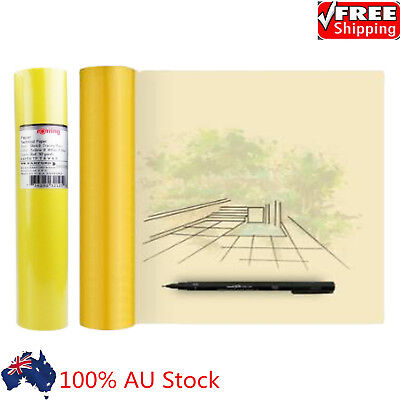 50M Drafting Tracing Paper Butter Paper Yellow Roll Draft Sketch Overlay Paper