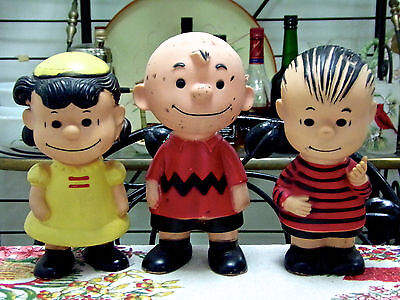 1950's Charlie Brown Lucy Linus Vinyl Dolls Set Of 3 United Feature Syndicate
