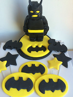 36 Edible Cup Cake Toppers Cake Decorations Batman Lego Plaque Superhero
