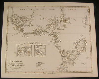 Exploration into Central Africa 1835 antique engraved hand color map