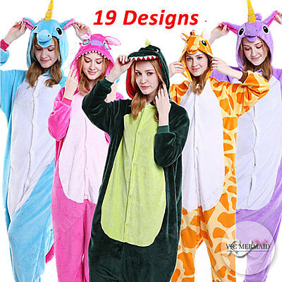 Adult Fleece Kigurumi Animal Pajamas Jumpsuit Cosplay Costume Giraffe Unicorn ..