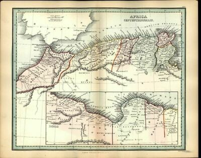 Northern Africa Gibraltar Numidia Roman c.1830 antique engraved hand color map