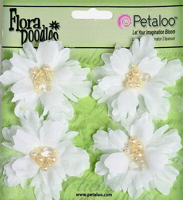 PEONIES Sml x 4 WHITE Beaded Pearl Centres FABRIC 4.5 to 5cm Across Petaloo