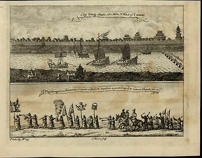 Tong-Chew City Pilgrimage to Chinese God scarce old 1752 antique engraved print