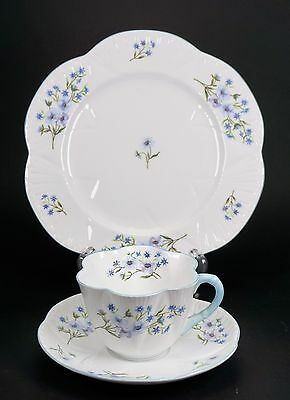 Shelley Dainty Blue Rock Trio Pattern Teacup Cup Saucer Plate