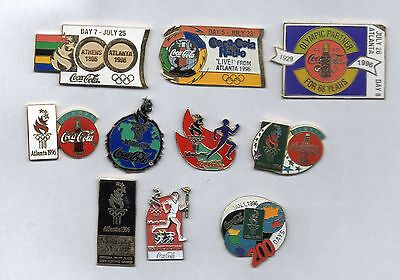 10 nice Coca Cola pins from Atlanta 1996 summer Olympics - 3 day pins