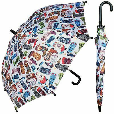 "32"" Children Kid Cowboy Boot Umbrella - RainStoppers Rain/Sun UV"