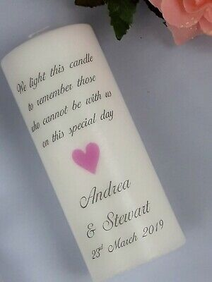 Personalised Larissa Ivory Wedding Absence or Memorial Candle
