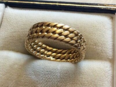Fabulous Quality Hallmarked Heavy Vintage Solid 18ct Gold Fancy Wedding Band - L