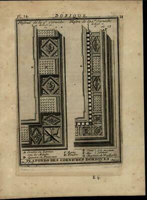 Doric Ceiling Cornices Greek Order Ornate 1696 rare antique Architecture print