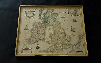GREAT BRITAIN MAGNA BRITANNIA HIBERNATE TABULA FRAMED Map Britain Old Retro
