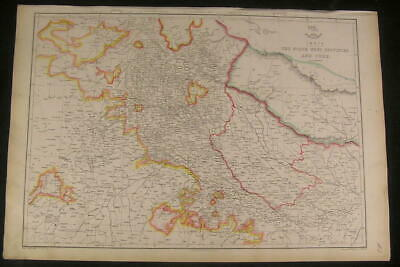India North West Provinces & Oude c.1863 old vintage detailed Weller map