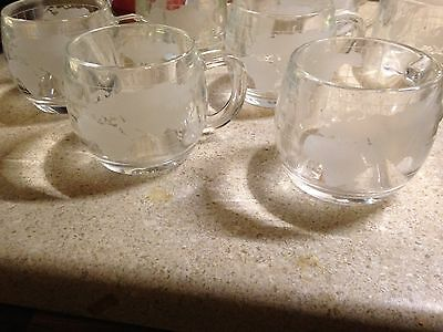 Set of 4 Vintage NESTLE Nescafe World Globe Frosted Coffee Mugs Cups