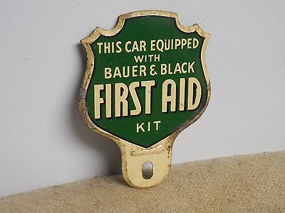 Original Vintage Bauer And Black First Aid Kit License Plate Topper