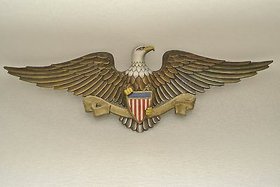 """VTG Sexton American Eagle w/Shield Wall Hanging Hand Painted Art 27"""" Cast Metal"""