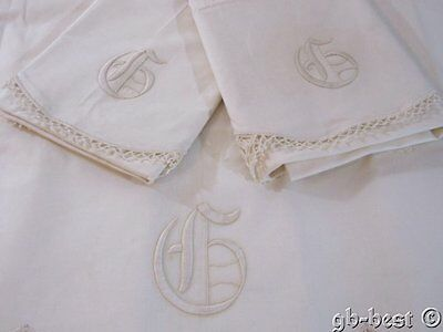 Antique Monogrammed PADDED Embroidered Sheet Pillowcases SET