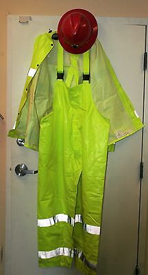 Two Tingley Flame Retardant Jackets W/ 1 Pair Of  Overalls & Hard Hat