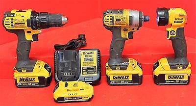 DeWalt Combo Kit Impact Driver, Flashlight, Drill Driver W/4 Batteries & Charger
