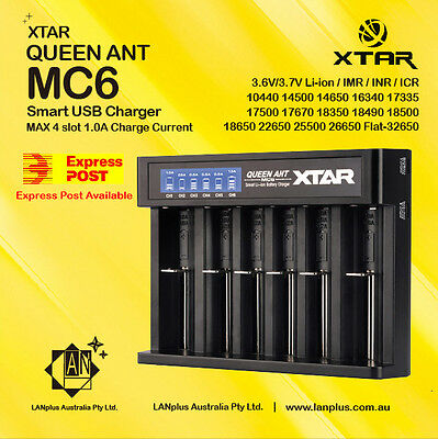 XTAR MC6 Queen ANT 6-slot LCD USB Battery Charger 14500 18650 26650 32650 18350