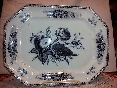 "1850s HULME & BOOTH MULBERRY PURPLE TRANSFERWARE PLATTER 15.25"" FLORA PATTERN"