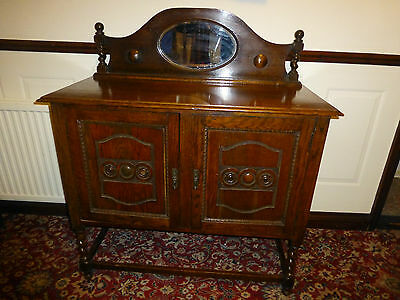 Antique Carved Oak Side Board With Top Mirror