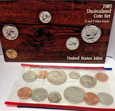 1985 United States Mint Uncirculated Coin Set D & P Mint Marks