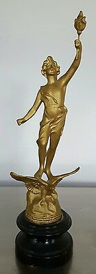 """14"""" Antique French Gold Spelter Statue Figure"""