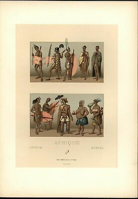 Africa Nude Obese Woman Warriors Leather Shields c.1888 antique colorful print
