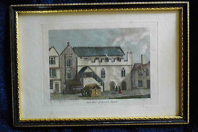 IPSWICH engraving 1785 Suffolk Town Hall coloured framed Georgian  antique