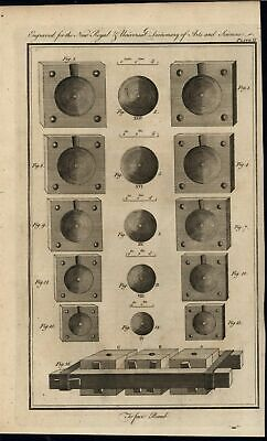 Casting Explosive Devices Spherical Bombs Artillery 1771 antique engraved print