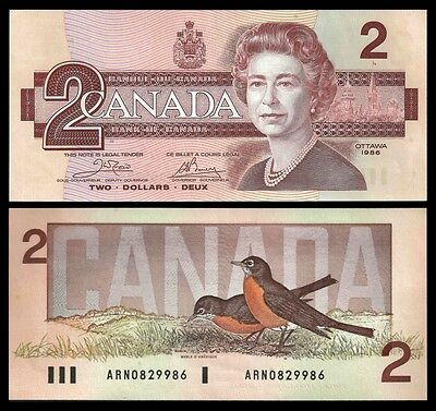 Canada 2 DOLLARS 1986 Sign. Crow-Bouey P 94a UNC