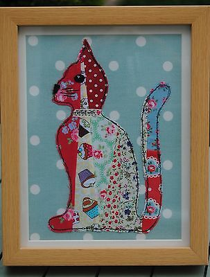 New stitched textile art fabric cat picture patchwork sitting cat Cath Kidston