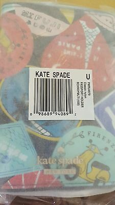 """RARE NWT Kate Spade """"Rich Navy Multi""""  Passport Holder in orig wrap from KS"""