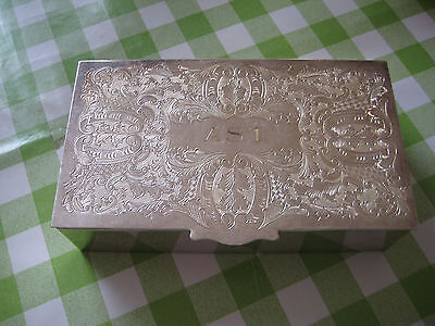 Antique Silver Alpha Plate Chased Viners of Sheffield Lidded Compartment Box