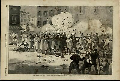 6th Mass. Regiment Fighting in Baltimore Streets 1861 great old vintage print