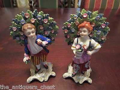 Antique English Staffordshire pottery pair of pearlware figures boy and girl[1st